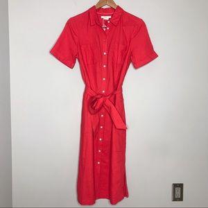 Boden NWT Linen Short Sleeve Shirt Dress - size 6
